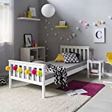 Homestyle4u 1416, Holzbett 90x200 cm Weiß, Bett...